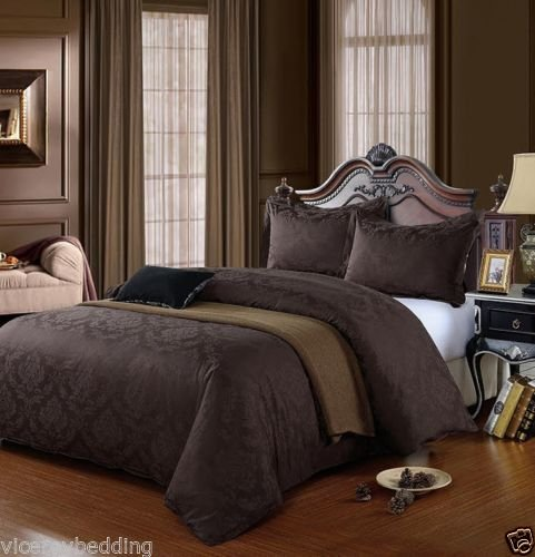 500 Thread Count DAMASK 100% Cotton Jacquard Duvet Cover Set (King, Brown)