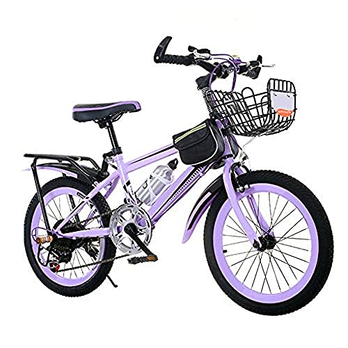 Mountain Bike For Kids 20 22 24-Inch/Small Steel Frame And With Basket Kettle Rack Variable Speed Kickstand Suitable For 8-14 Years Old Boy Girl Purple-80cm/31.4in