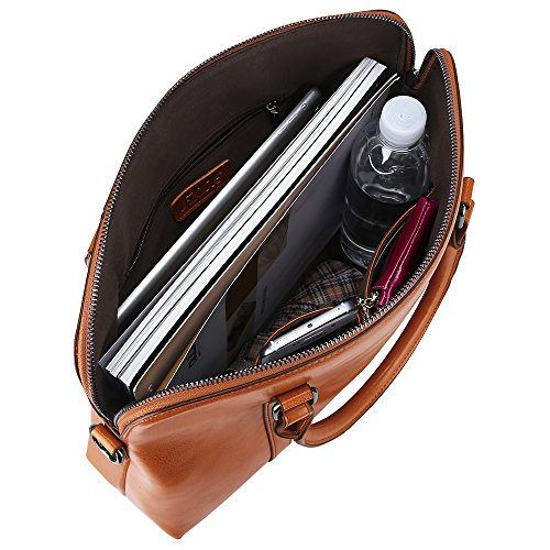 S-ZONE Women's Genuine Leather Handbags Briefcase Purse Shoulder Bags Tote Bag (Brown)(Size: One Size)