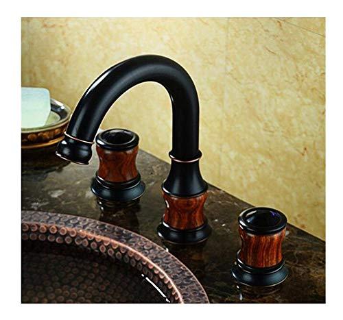 Grifos Grifo de baño de lujo de cromo negro latón de cerámica doble de tres agujeros de lujo lavabo grifo de lavabo