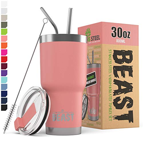 BEAST 30oz Blossom Tumbler - Stainless Steel Insulated Coffee Cup with Lid, 2 Straws, Brush & Gift Box