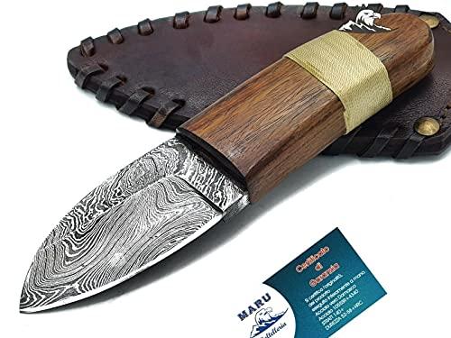 Maru Knives Coltello Artigianale Skinner in Acciaio Damasco Manico Legno Lama Fissa-Coltello da Caccia-Coltello da Collezione-Coltello Bushcraft - Coltello Lama Fissa