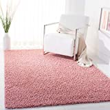 SAFAVIEH Primo Shag Collection PRM300V Solid Non-Shedding Living Room Bedroom Dining Room Entryway Plush 1.2-inch Thick Area Rug, 4' x 6', Rose