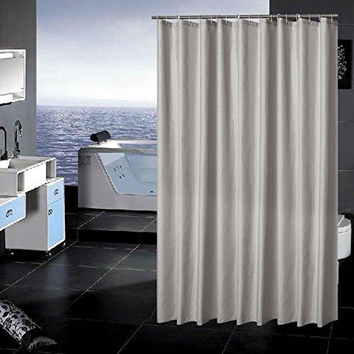 Sfoothome Polyester-Stoffvorhang für die Dusche, schimmelwiderstandsfähiger, waschbarer Duschvorhang für Badezimmer mit Anti-Rost-Tüllen, Kunststoffringen & beschwertem Saum, Silbergrau, 90 x 180cm