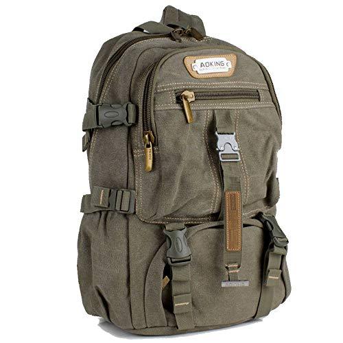 AOKING Rucksack Sport Reise Wander Schul Tasche Canvas Day Back Pack Outdoor grün