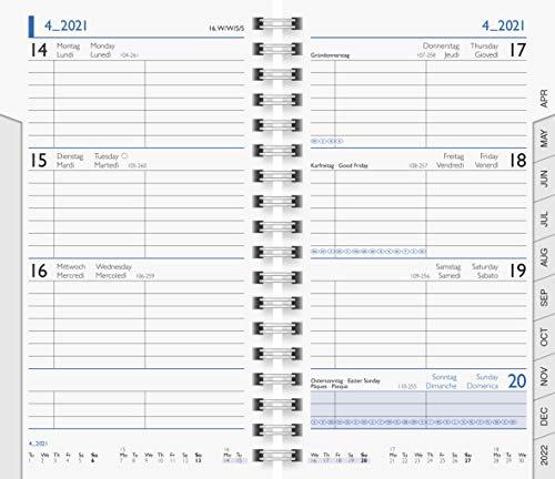 BRUNNEN 1075601001 Taschenkalender/Wochen-Sichtkalender Ersatzkalendarium Modell 756, 2 Seiten = 1 Woche, 8,7 x 15,3 cm, Karton-Umschlag, Kalendarium 2021, Wire-O-Bindung