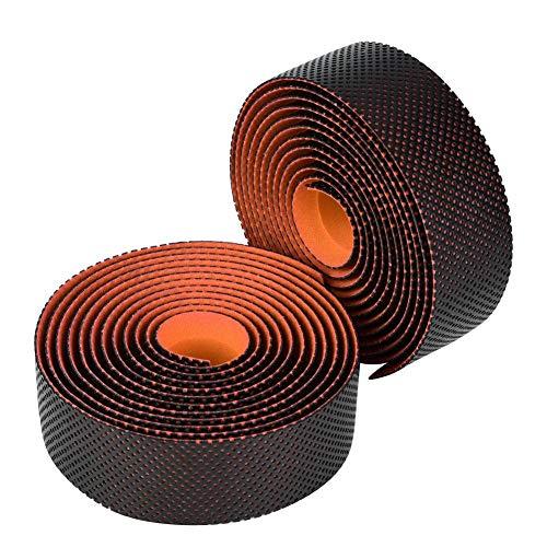 自転車バーテープ ハンドルバーテープ グリップテープ PU素材 ロードバイク用 防水 滑り止め 左右2個セット 耐摩耗 取り付けやすい(オレンジ)