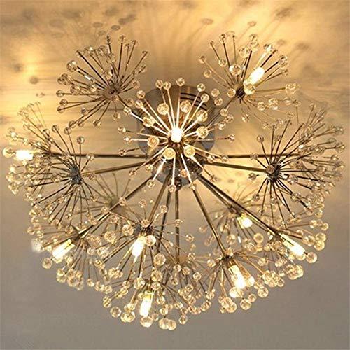 YXZQ Modern European K9 Crystal Dandelion Ceiling Lights Fixtures Contemporary Led Pendant Ceiling Lamps for Living Dining Room Bedroom Aisle Chandelier Art Decor