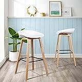 FurnitureR Juego de 2 sillas Eames Bar Asiento cómodo y Altura Adecuada para Uso en Comedor y Bar Blanco