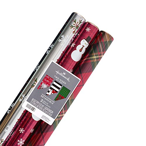 Hallmark Reversible Christmas Wrapping Paper Bundle (Pack of 3, 60 sq. ft. ttl.) Contemporary Foil, Red Plaid, Green Houndstooth, Black and White Stripes, Snowflakes