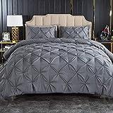 Andency Dark Gray Pinch Pleat Comforter Queen(90x90Inch), 3 Piece(1 Pintuck Comforter and 2...