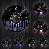 Piano Teclado Disco de Vinilo Reloj de Pared diseño Moderno Notas Musicales Estudio de música decoración álbum Registro Reloj de Pared