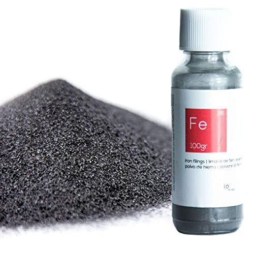 100 g hochwertigem Eisenpulver [Kostenlose Flasche mit Auslauf] - Eisenpulver für die Wissenschaften und Bildung - Erstellen Sie eine Mauer Magnetverschluss aus der Mischen mit der Malerei