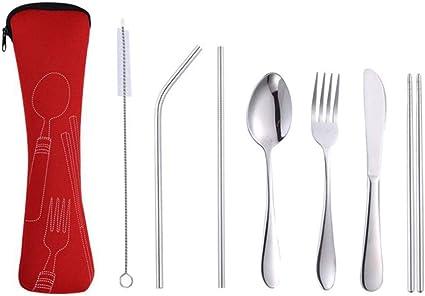 LIOOBO 7 Piezas Juego de Cubiertos de Acero Inoxidable Cuchillo Tenedor Cuchara para Trabajo Camping Set de Cubiertos para Llevar con Estuche