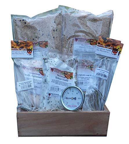 Räucherpaket Forelle-4, inkl. Räucherhaken, Räuchergewürz, Räuchermehl, Räucherlauge, Räucherthermometer
