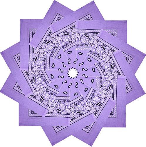 CD Bandana |100% Cotton, 12-Pack Bandanas for Women, Men, Dozen Novelty Headband (Lavender)