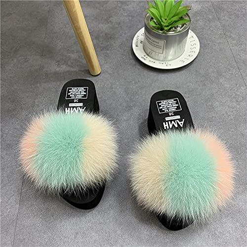 Zapatillas Deportivas De Mujer Blancas,Zapatillas Peludas, Verano Nuevas Zapatillas De Cuero Anti-Zorro Anti-Zorro, Flip-Flamps De TacóN De CuñA De Plataforma, Zapatos De Plataforma De Sandalias De T