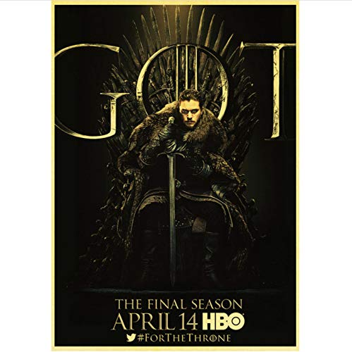 qiaolezi Print On Canvas Game of Thrones Season 8 Poster 2019 New Movie Vintage Posters Art Retro Wall Pictures For Living Room Decor A969 50×70CM Without Frame
