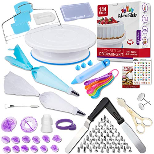 Kitchen Strike Cake Decorating Kit - 144 Piece Baking supplies With Bonus Accessories Of Fondant Tools, Spoons, Piping Bags Tie and eBook - Smooth Cake Turntable Spinner With Non-slip Silicone Base