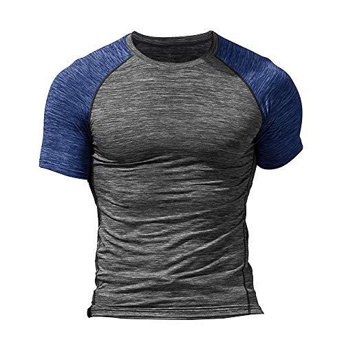 Herr Mager Tajt Kompression Baslager Kortärmad T-shirt Bodybuilding Blast Hampa grå X-Large