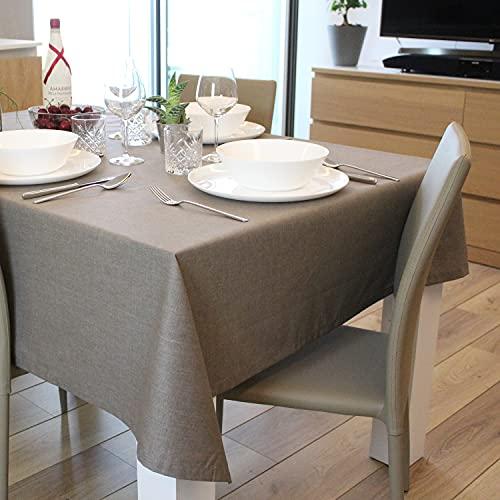Casaviva Mantel 100% algodón estampado efecto lino Made in Italy Elegante y moderno para fiestas y banquetes (gris pardo, 140 x 140 cm)