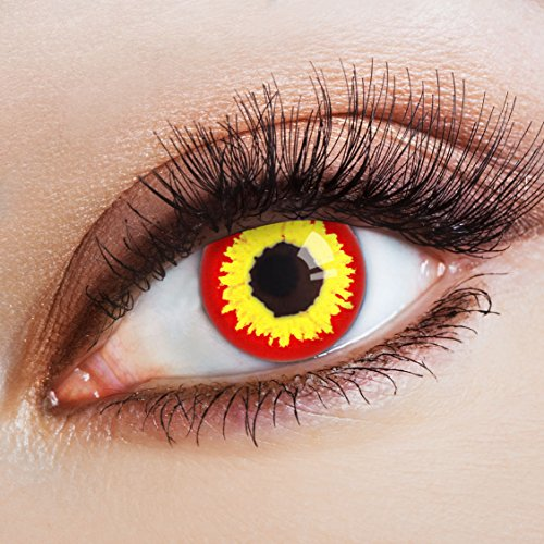 aricona Kontaktlinsen - Gelb-rote Kontaktlinsen Jahreslinsen – deckende Kontaktlinsen ohne Stärke für Halloween, Karneval, Fasching und Kostüm-Partys
