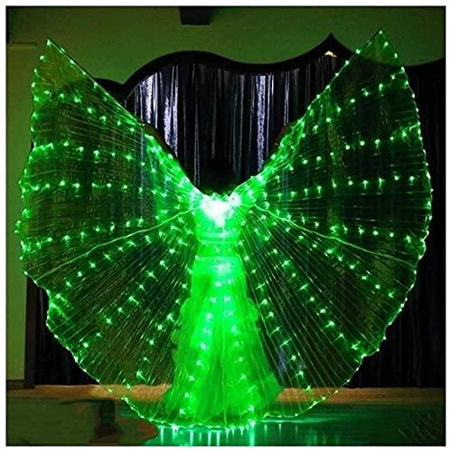 wsbdking DIRIGIÓ ISIS Wings ADULTURADOR ADULTIVO IRIDESCENTE Danza Danza Danza Buenca Danza DIRIGIÓ Alas de ISIS con Palos/Varillas (Color: luz Verde, tamaño: m)