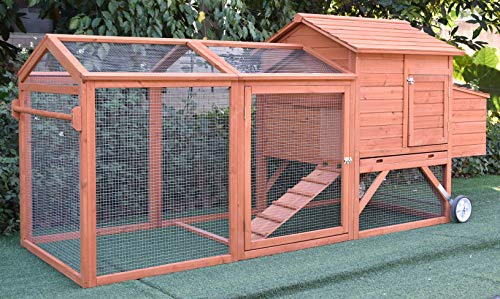 "ChickenCoopOutlet 96"" Wheel Wood Chicken Coop Backyard Hen House Nesting Box & Run New"