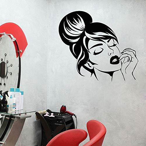 Decoración de habitación Pegatinas de pared de salón de belleza Pegatinas de pared de salón de belleza Pegatinas de habitación de niñas Decoración de pared de cara de niñas Maquillaje de cabello
