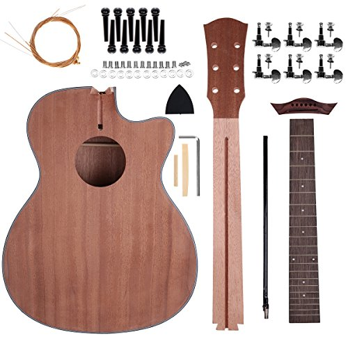 Acoustic Steel Strings Guitar Make Your Own Guitar DIY Guitar Kits 40 Inch for Music Lover (Sapele)