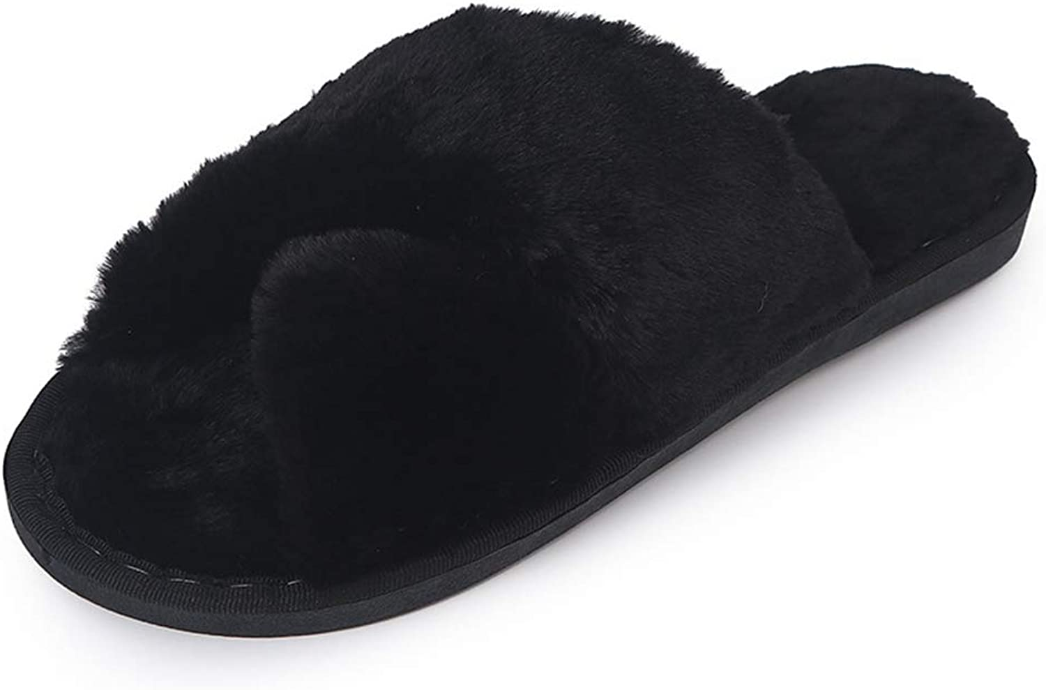 T-JULY Women's Suede Winter Warm Cross Fur Slippers Home shoes Candy colorful Indoor Slides Soft Casual Sandals