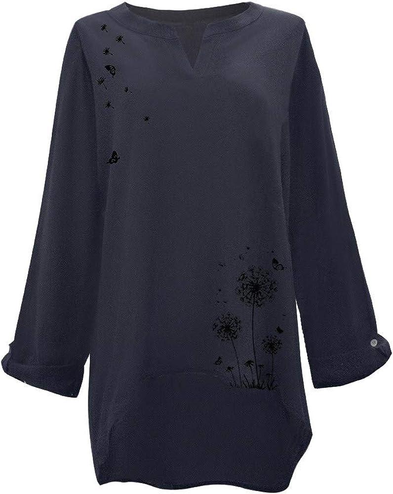 Dorical Leinenbluse für Damen,Langarm Drucken Oberteil Casual V-Ausschnitt Tops Tunika T-Shirt Lose Baumwolle Große Größen Leinenhemd Bluse Jacquard Oberseiten 01 Marine