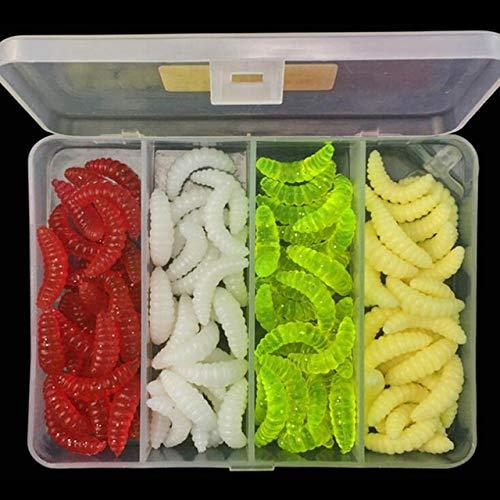 HAIYOUSHANGMAO 100PCS Fischköder 4 Mischfarben Brot Bug Set Künstliche Angeln Weiche Tackle Köder Köder Worms Riechen Angeln (Color : White)
