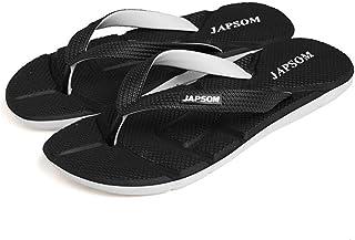 Men's Summer Flip Flops, Comfortable EVA massage Sandals Non-Slip Slippers Toe Post Thong Platform Wedge Beach Shoes,Black,41