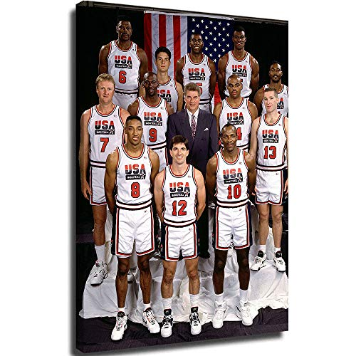Framed Canvas Canvas Poster Wall Art NBA Dream Team 1992 Modern Family Bedroom Decoration Poster 18x24inch