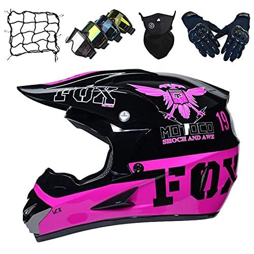 Cascos Motocross Niños, Casco Moto de Cara Completa para Adultos con Diseño Fox, Casco Moto para Jóvenes Casco de Carreras con Gafas/Guantes/Máscara/Red Elástica - Negro