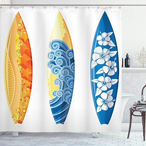 ABAKUHAUS Sommer Duschvorhang, Surf Fun Wassersport, mit 12 Ringe Set Wasserdicht Stielvoll Modern Farbfest & Schimmel Resistent, 175x200 cm, Orange Gelb Blau