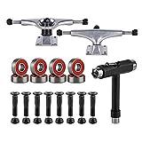 BESIY Skateboard Trucks, Skateboard Bearings & Wheel Hardware Set with Polished Skateboard Screws 1' and Practical Wrench