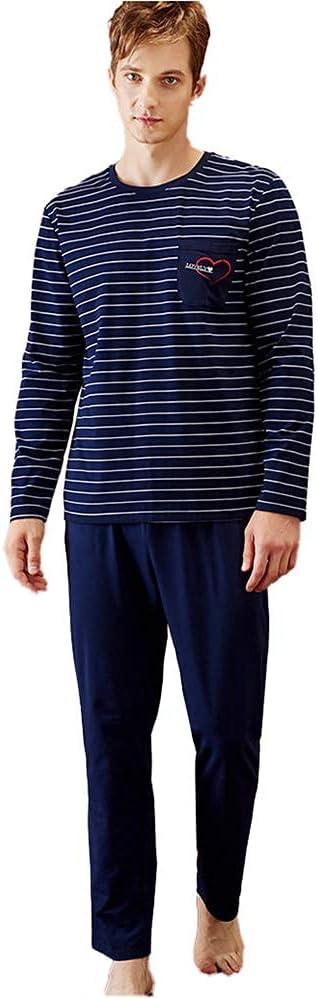 FMOGG Mens Pyjama Set Cotton Long Sleeve Stripe Top & Pants Pj Set Sleepwear Nightwear Loungewear M-XXL