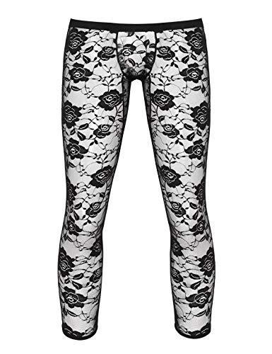 Agoky Herren Strumpfhose mit Bulge Beutel Spitzen Dessous Lange Unterhosen Slim Fit Pants in Schwarz Weiß Schwarz X-Large