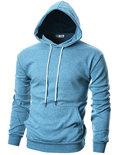 Ohoo Mens Slim Fit Long Sleeve Lightweight Hoodie With Kanga Pocket/DCF010-SKYBLUE-S