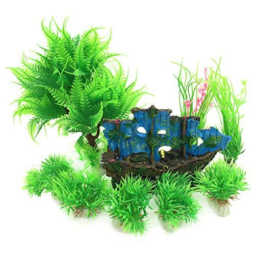 PietyPet Adornos para acuario, 9 Plantas Verdes de Acuario de Plástico y Barco Adornos Cueva de Roca Pecera Acuario