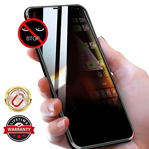 WiaNing Anti Peeping Magnetic Case for iPhone 11, Privacy Case with Clear Double Sided Tempered Glass [Magnet Absorption Metal Bumper Frame] 360°Protection for iPhone 11-Black