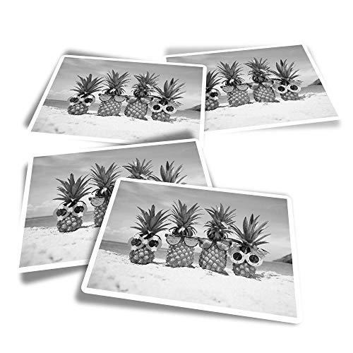 Pegatinas rectangulares de vinilo (juego de 4) BW – Calcomanías divertidas para la familia de piñas de verano para portátiles, tabletas, equipaje, reserva de chatarra, frigoríficos #35196