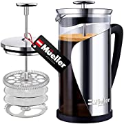 Mueller French Press Coffee, 20% Heavier Duty Stainless Steel Frame & Trumax Borosilicate Glass Coffee Press with 4 Level Filtration System, Easy Clean, 34oz-8 cups