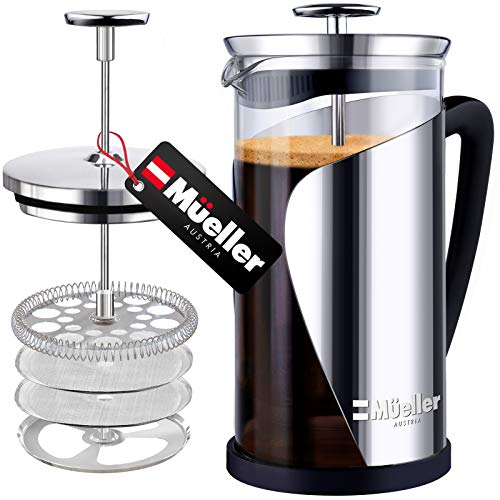 Mueller French Press Coffee 20% Heavier Duty Stainless Steel Frame amp Trumax Borosilicate Glass Coffee Press with 4 Level Filtration System Easy Clean 34oz8 cups