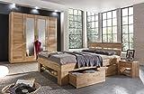 moebelstore24 Bett Futonbett Kernbuche-massiv geölt 140x200 cm inkl. 4 Bettkasten auf Rollen und Fußteilregal Sofie - 5