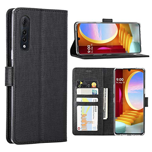 FUNMAX+ LG Velvet 5G Hülle, PU Handyhülle mit 3 Kartenfächer, Schutzhülle Case Tasche Magnetverschluss Flip Cover Stoßfest für LG Velvet (Schwarz)