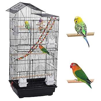 Yaheetech Cage à Oiseaux avec Jouets Poignée Cage pour Perruche Calopsitte Inséparable Canari Mandarin 46 x 35,5 x 99 cm