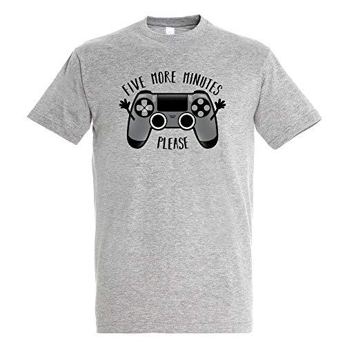 T-Shirt Play Five More Minutes - Gamer - Umorismo - Puro Cotone - Serigrafia di Alta Qualità.